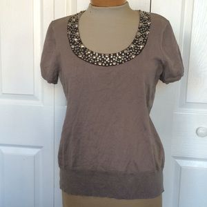 Chico's Tops - Chico's embellished collar silk blend knit top 1